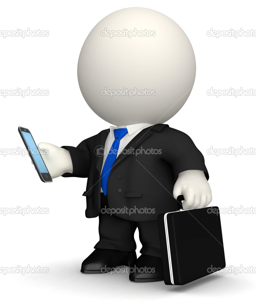 3D Business man texting on his cell phone - isolated over white — Stock Photo #7757098