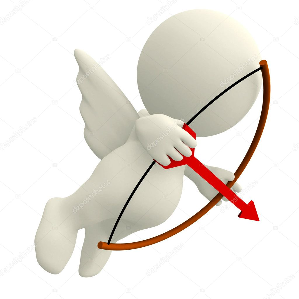 3D Cupid wih an arch and arrow - isolated over white — Stock Photo #7757105