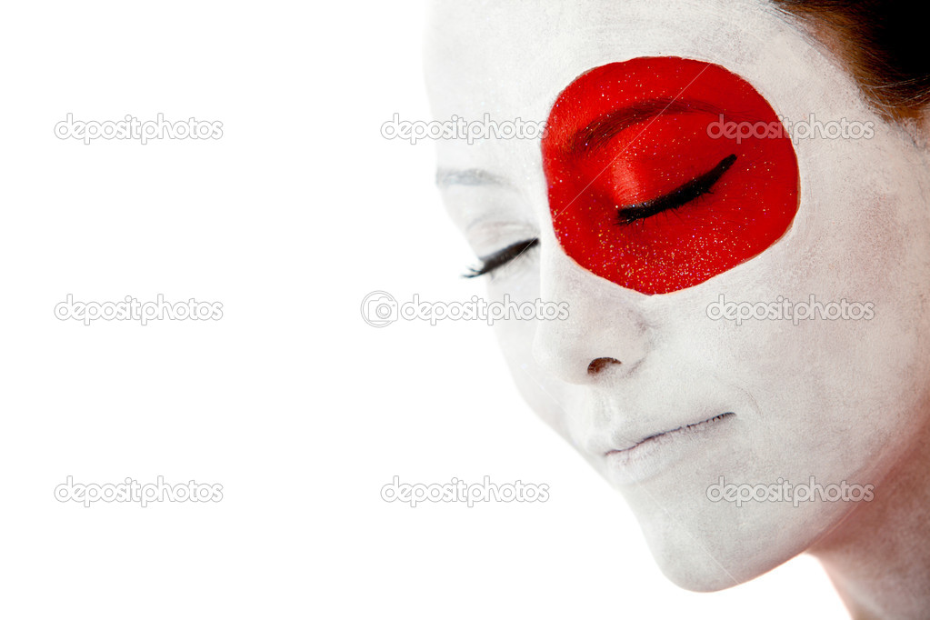 Japanese woman with the flag painted on her face - isolated — Stock Photo #7757377