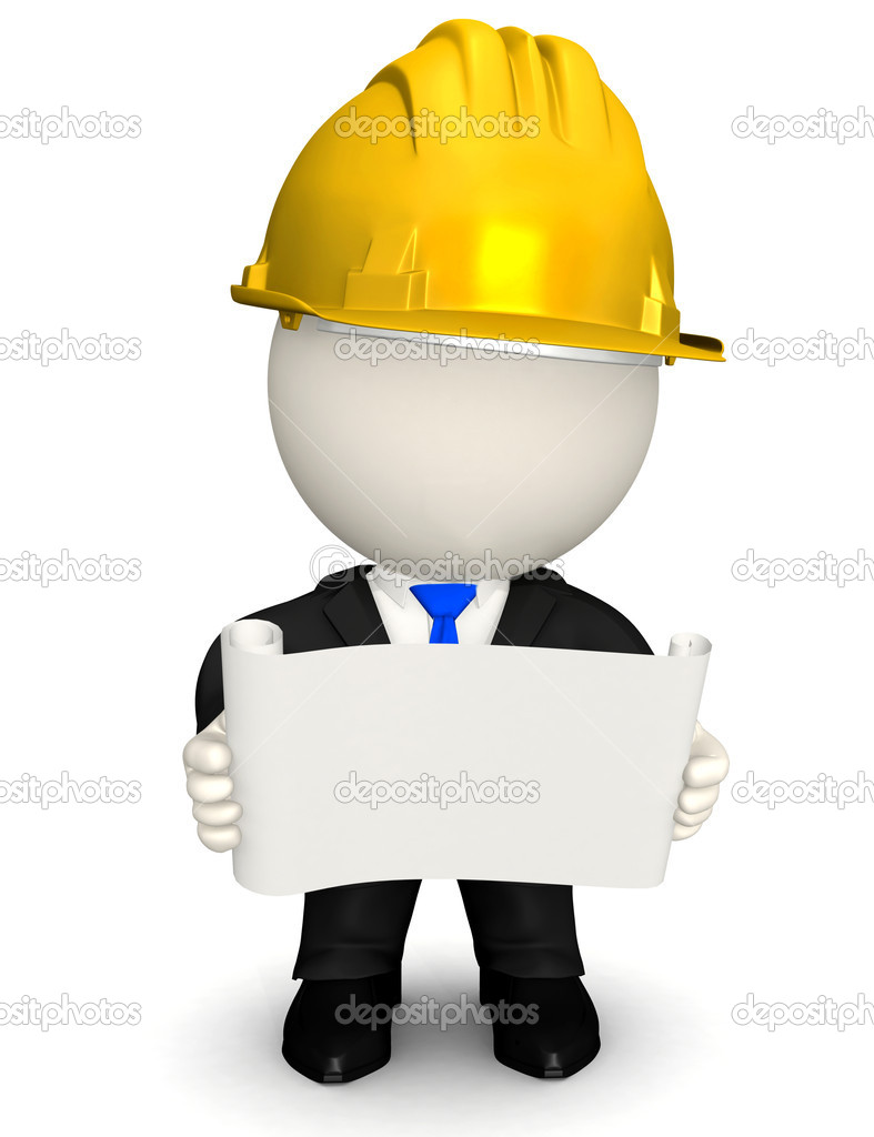 3D Architect or engineer looking at blueprints - isolated — Stock Photo #7757573