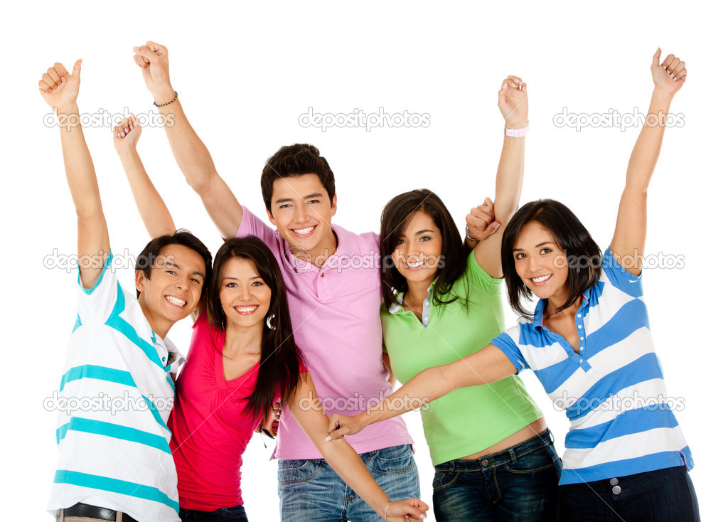 Happy group of with arms up - isolated over white — Stock Photo #7757904