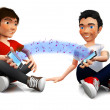 3D friends sharing music — Stock Photo