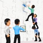 3D businessmen assembling a puzzle — Stock Photo