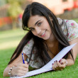 Woman studying outdoors — Stock Photo #7761498
