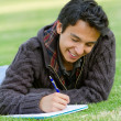 Man studying outdoors — Stock Photo