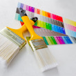 Paint brushes with color guide - Stock fotografie