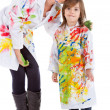 Stock Photo: Woman and kid painting