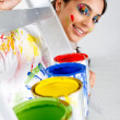 Woman painting - Stock Photo