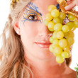 Greek goddess with grapes — Stock Photo