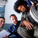 Mechanics in a garage — Stock Photo