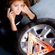 Woman having problems with the car — Stock Photo
