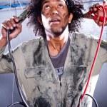 Crazy male mechanic — Stock Photo