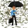 3D Dollar rain — Stock Photo