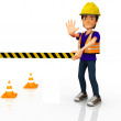 Stock Photo: 3D road worker