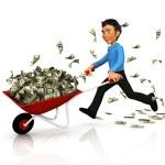 3D business man carrying money — Stock Photo