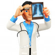 Stock Photo: 3D doctor looking x-ray