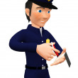 Stock Photo: 3D policeman giving a fine