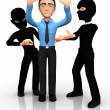 Stock Photo: 3D thieves mugging man