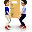 3D men with boxes - Stock Photo