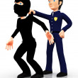 3D police arresting a thief - Stock Photo