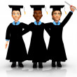 3D Happy graduates — Stock Photo