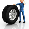 3D Mechanic changing a tire - Stock Photo