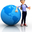 Stock Photo: 3D worldwide traveler