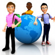 3D worldwide travelers - Stock Photo