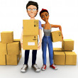 3D couple moving - Stock Photo