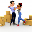 Stock Photo: 3D couple moving