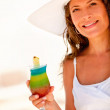Woman drinking a cocktail — Stock Photo #7764443