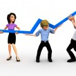 3D business growth — Stock Photo