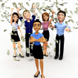 3D money rain - Stock Photo