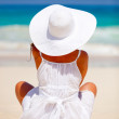 Peaceful woman at the beach — Foto Stock