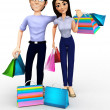 3D shopping couple — Stockfoto