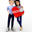 Foto Stock: 3D couple celebrating their anniversary