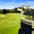 Royalty-Free Stock Photo: Golf clubs on a course