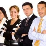 Businessman leading a team — Stock Photo