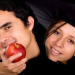 Apple of temptation - couple — Stock Photo #7764776