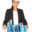 Female architect showing her project — Stock Photo