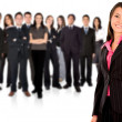 Business team with a businesswoman leading - Foto Stock