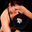 Stock Photo: Girl exercising with free weights