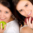 Healthy girls on a diet — Stock Photo