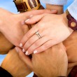 Teamwork - hands together — Stock Photo