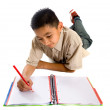 Stock Photo: Child studying on floor