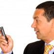 Business man with a mobile phone — Stock Photo