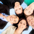 Business team work - heads together — Stock Photo