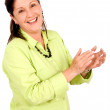 Business woman smiling and applauding — Stock Photo #7765232