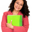 Business woman with notebook — Stock Photo