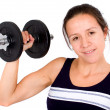 Stock Photo: Girl lifting freeweights